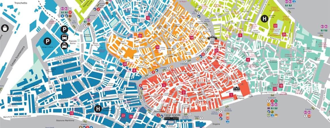 Cartina Venezia Dettagliata.Mappa Di Venezia