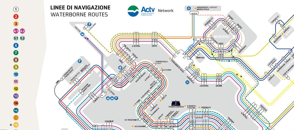 Mapa del vaporetto de Venecia
